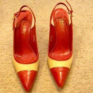 Burnt orange and natural heel Franco Sarto